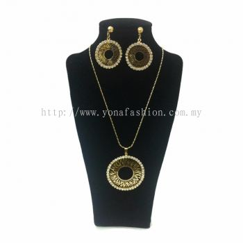 Yona Fashion 2 in 1 Necklace Earring Set (Circle)