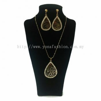 Yona Fashion 2 in 1 Necklace Earring Set (Oval)