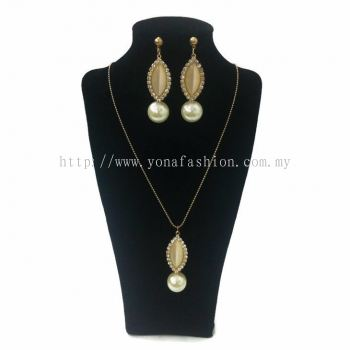 Yona Fashion 2 in 1 Necklace Earring Set (Pearl)