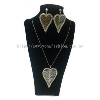 Yona Fashion 2 in 1 Necklace Earring Set (Leaf)