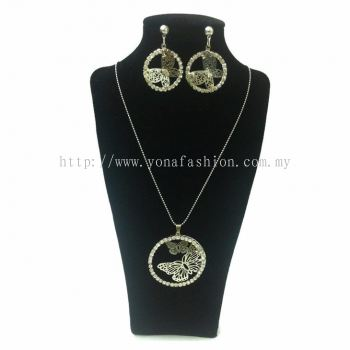 Yona Fashion 2 in 1 Necklace Earring Set(Circle)