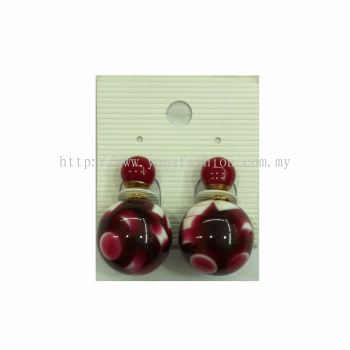 Yona Fashion Front Back Stud Earring (Red)