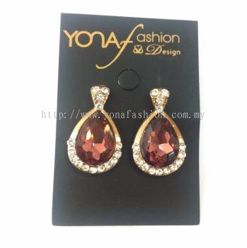Yona Fashion Oval Stone Stud Earring (Maroon)