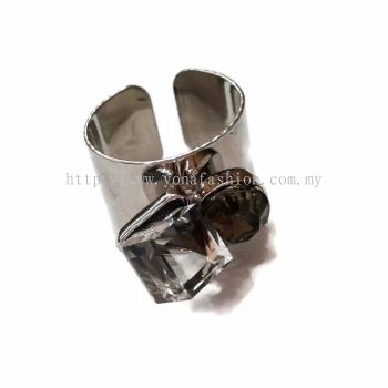 Yona Fashion 2 Stone Ring (Silver)