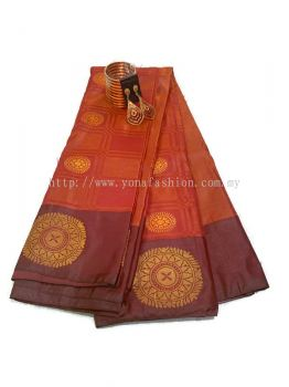 SILK KANCHIPURAM ART BROCKET SAREE WITHOUT STONE