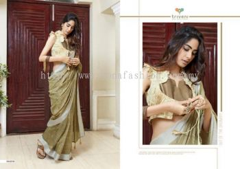 LINEN SAREE WITH FLORAL BLOUSE