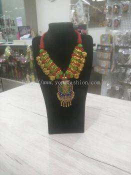 GOLD OXIDISED NECKLACE WITH MULTI COLOUR THREAD