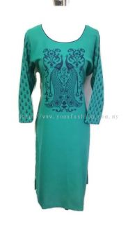 PEACOCK DESIGN COTTON KURTI TOPS WITH PRINTED SLEEVES