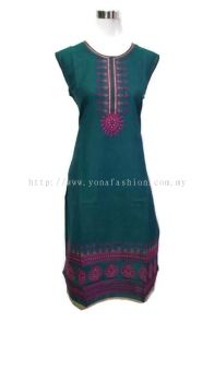 WOMEN 'S PURE COTTON EMBROIDED KURTI TOPS [SLEEVLESS]