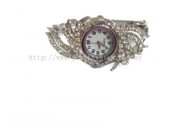 Women Modern Design Rhinestone Studded Bracelet Bangle Watch