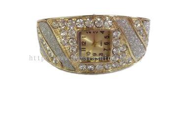 Women Modern Design Rhinestone Studded Bracelet Bangle Watch