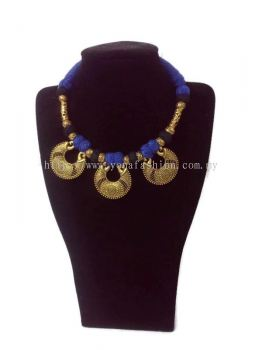 WOMEN'S VINTAGE LIGHT WEIGHT ETHNIC OXIDISED NECKLACE WITH  COLOUR THREAD