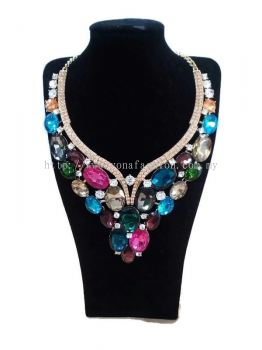 WOMEN'S LUXURIOUS WEDDING PARTY CRYSTAL JEWELLERY NECKLACE + EARRINGS SET