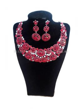 WOMEN'S LUXURIOUS WEDDING PARTY RHINESTONE JEWELLERY NECKLACE + EARRINGS SET