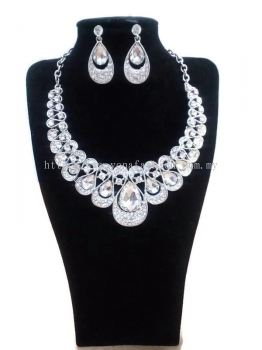 WOMEN'S LUXURIOUS WEDDING PARTY RHINESTONE JEWELLERY NECKLACE EARRINGS SET