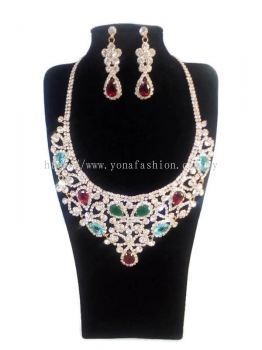 WOMEN'S LUXURIOUS WEDDING PARTY RHINESTONE JEWELLERY NECKLACE + EARRING SET