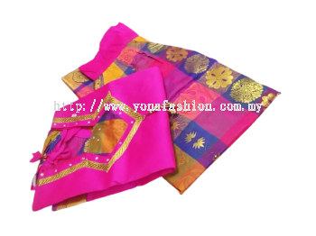 READY MADE PADDU PAVADAI SADDE WITH SILK LONG SKIRT & BLOUSE FOR SMALL KIDS /GIRLS