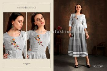 REDAYMADE PURE COTTON KURTI WITH HAND EMBROIDERY WORK