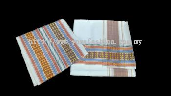 Men's tradisional cotton vesti /dhoti with multicolour zari border.