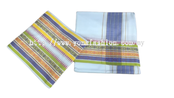 Men's tradisional cotton vesti /dhoti with multicolour zari border.