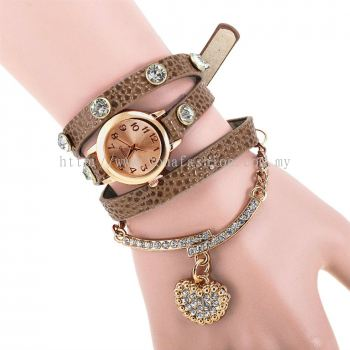 Charm Bracelet With Rhinestone Heart Shaped Pendant (Dark Brown)