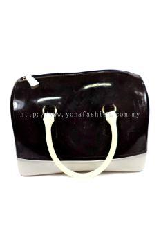 Two Tone Pillow Candy Handbag (Black + White)