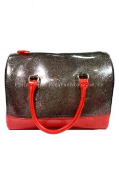Two Tone Pillow Candy Handbag (Glittering Black + Red)