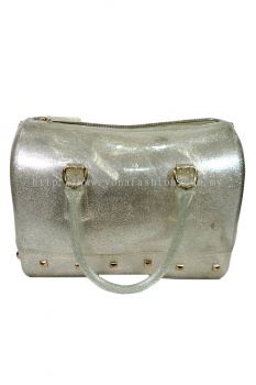 Two Tone Pillow Candy Handbag (Clear Glittering Silver)