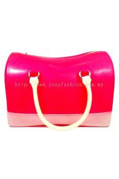 Two Tone Pillow Candy Handbag (Striking Pink + White)