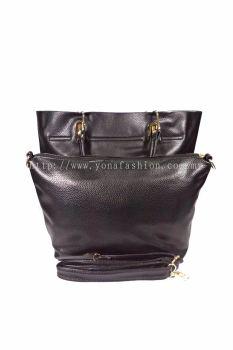 2 in 1 PU Leather Handbag/Sling Bag (Black)