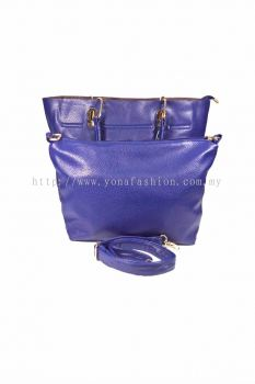 2 in 1 PU Leather Handbag/Sling Bag (Dark Blue)