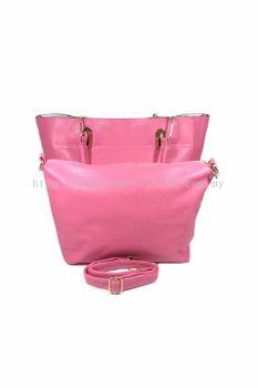 2 in 1 PU Leather Handbag/Sling Bag (Pink)
