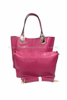 2 in 1 PU Leather Handbag/Sling Bag (Deep Pink)