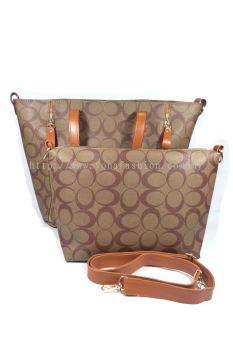 2 in 1 PU Leather Handbag/Sling Bag (Brown)