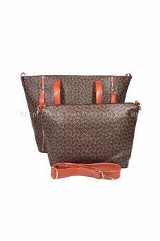 2 in 1 PU Leather Handbag/Sling Bag (Dark Brown)