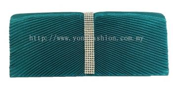 Glossy Satin Party Clutch (Green)