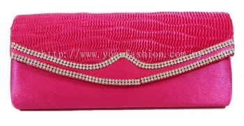 Glossy Satin Party Clutch (Pink)