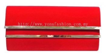 Plain Velvet Clutch (Red)