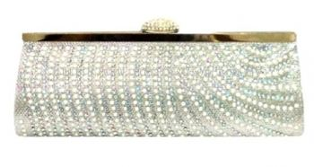 Silver Shimmer Diamant Studded Clutch (Silver)