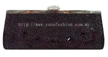 Black Stone Studded Clutch (Shimmering Black)