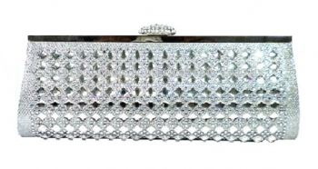 Silver Stone Studded Clutch (Shimmering Silver)