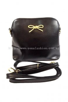 PU Leather Sling Bag (Black)