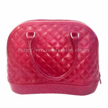 Ladies Top Handle Shell Bag (Maroon)