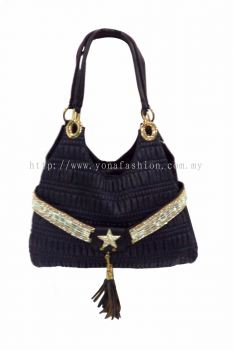 Star PU Leather Bag (Dark Blue)