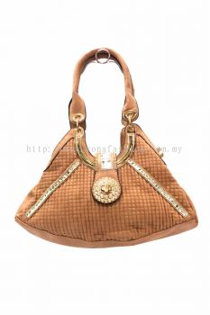 Rhinestone PU Leather Bag (Brown)