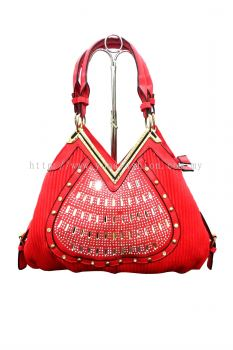 V Neck Stone Handbag (Red)