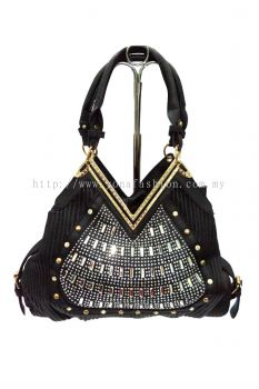 V Neck stone Handbag (Black)