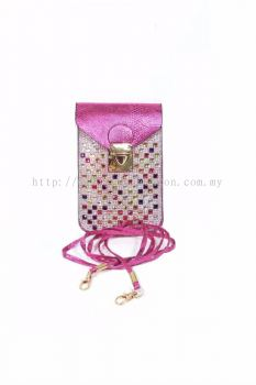 Colourful Stone Cross-body Bag (Pink)