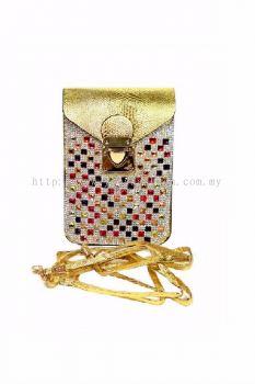 Colourful Stone Cross-body Bag (Gold)