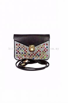 Colourful Stone Cross-body Bag (Black)